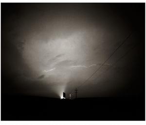 Nocturne: Iowa Signs #25, Lightning Strike by Frank Hunter