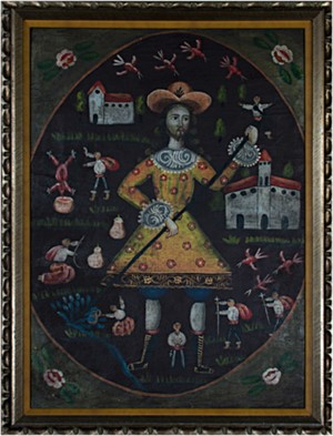 Peruvian Folk Art Painting, c. 1900