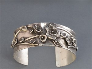 Bracelet - Sterling silver cuff with fine silver water casting.  AS 001, 2018