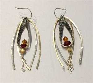 DK2557-Earrings-14k,24k, Amber and Horn Beads, 2018
