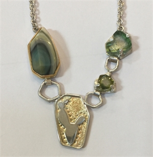 Necklace - 14 ct - 22 ct Gold & Silver With Imperial Jasper Tourmaline, 2020