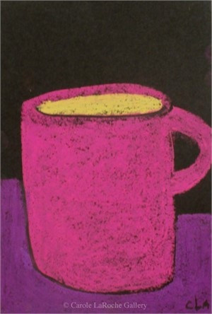 MAGENTA MUG ON PURPLE TABLE