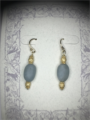 Earrings - Tumbled Aquamarine & Gold Vermeil  #8657, 2020