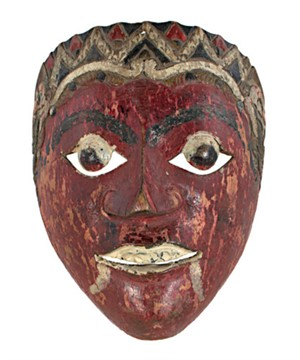Mask, round eyes, painted fangs, blood red face, 19th Century
