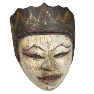 Mask, white face, slanted eyes (Nixon-type ski slope nose), 19th Century