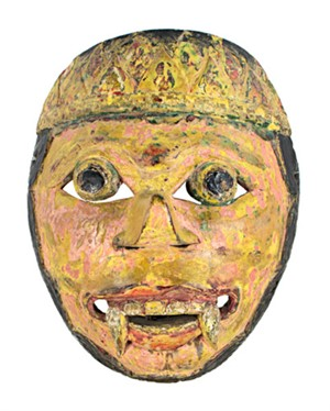 Mask, mustard & pink face, round eyes, beard with fangs and cleft chin, 19th Century