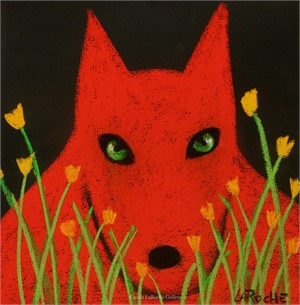 "WOLF IN THE GARDEN - limited edition giclee on canvas 20""x20"""