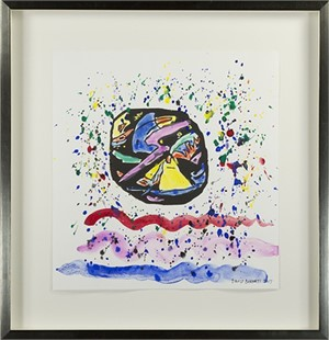 """Famous Artist Series: Homage to Wassily Kandinsky after 1911 """"Improvisation 22-Variant 1"""" (reversed, quarter-turn) woodcut from Klänge (Sound) Series., 2017"""
