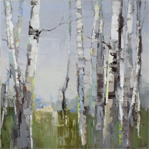 Green Among Birch by Barbara Flowers