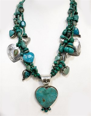 Necklace -KY 1278 Three stand heart necklace in Chinese turquoise and sterling silver, 2018