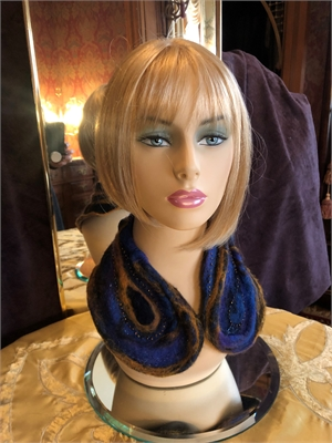 "Sculpted Collar Blue/Gold Hand Beaded ""O/S"""