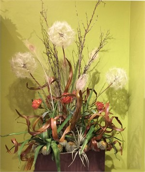 Alice In Desert Land   Dandelions, Protea, Cymbidium Foliage,Agave, Tillandsia,Barrel Cacti, Peacock Feathers  #24, 2019