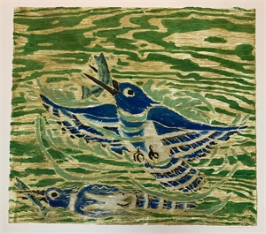Untitled, blue bird and fish, 2019
