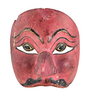 "Half-Mask, Round eyes, big nose ""pistachio red"", 19th Century"