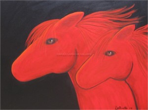 TWO RED HORSES