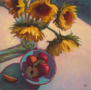 Sunflowers and Nectarines