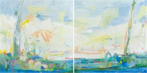 Frisbee by the River - Chattanooga, TN Diptych, 2020