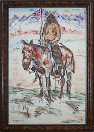 Famous Artist Series:  Homage to Ned Jacob Blackfoot Indian on Painted Palomino, Montana, 2012