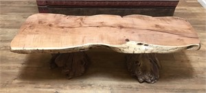Blonde Mesquite Coffee Table with Manzanita Root Burl Base