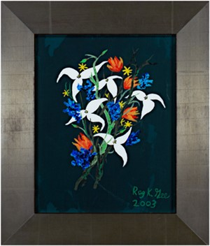 White & Blue Flowers on Dark Green Background, 2003