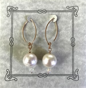 Earring - Freshwater Pearl & Opal With Rose Gold Vermeil   #8018, 2019