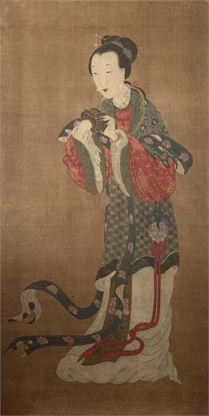 POLYCHROME PAINTING ON SILK OF A COURT LADY, Chinese, 18th century