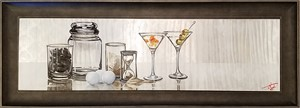 Drinks with Friends - 48x13 Oil on Aluminum