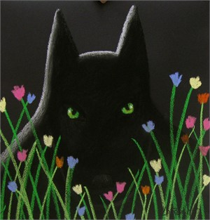 SOLD 'Green Eyed Midnight Wolf'