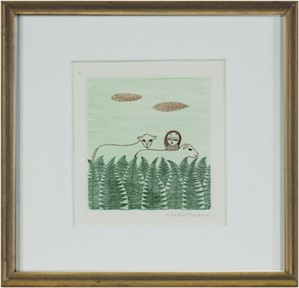 Girl in Forest w/ Two Sheep, 1980