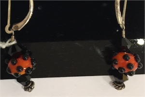 Earrings - Lampwork Beads, Swarovski Crystals & Sterling  #142, 2020