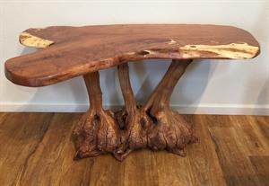 Hall/Sofa Table - Mesquite Top With Manzanita Root Burl Base, 2020