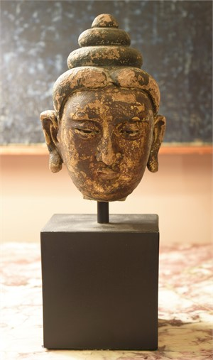 GILT AND GESSO YUAN HEAD, Chinese, Yuan Dynasty (1260-1368)