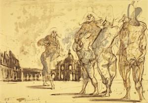 Commedia dell'arte, signed, 1974