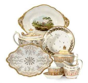 AN ASSEMBLED ENGLISH AND FRENCH GILT WHITE PART DESSERT SERVICE