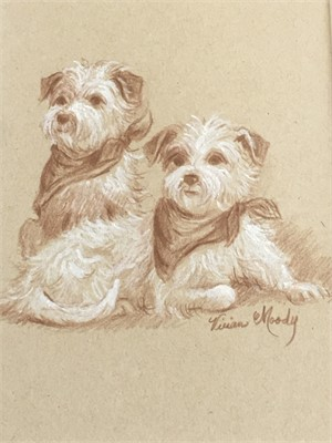 Pair of Terriers Drawing