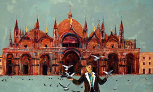 Woman with Birds at St. Mark's Square, c. 1985