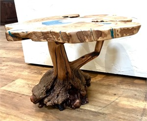 Coffee Table - Olive Wood with Blue Inlay on Manzanita Base, 2019