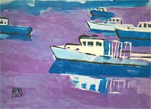 Lobster boats with purple
