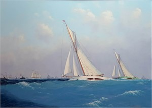 THE COLUMBIA FORGES AHEAD - THE AMERICA'S CUP 1899