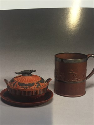WEDGWOOD ROSSO-ANITCO SUGAR BOWL/COVER/STAND