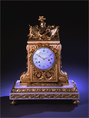 GILT BRONZE AND MARBLE MANTEL CLOCK SIGNED LEPAUTE, French, circa 1780