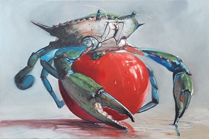 Blue and Green Blue Crab on Tomato, 2013