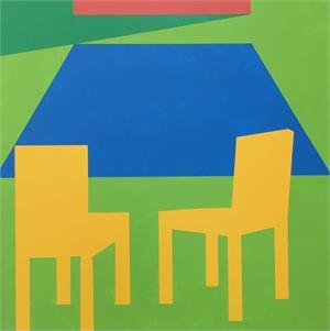 Scene 312- Pool, Yellow chairs and Cabana  , 2019