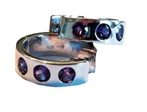 Earrings - Huggies Hoops, Amethyst & .925 silver