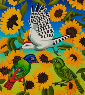 Painted Buntings and Sunflowers, 2019