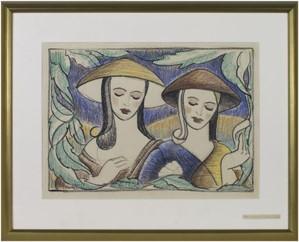 Two Women In Oriental Costumes & Hats, c.1948