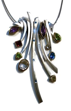 Necklace Set - 10 Multi-stones, .925, 14kt