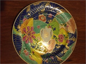 AN AMERICAN MARKET, TOBACCO LEAF PLATE WITH GILT MONOGRAM, Early 19th Century