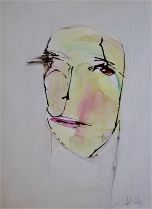 Yellow Face on Paper, 2019