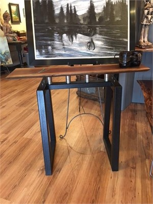 Walnut and Turquoise  Inlay Sofa Table